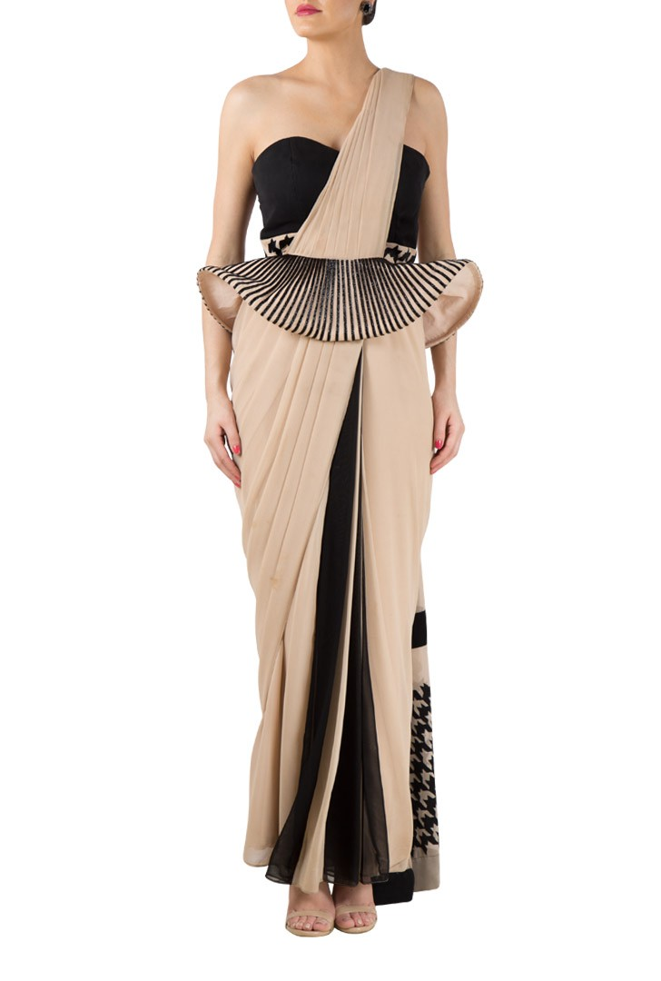 Beige Black georgette saree gown with embroidered peplum - mapxencaRS