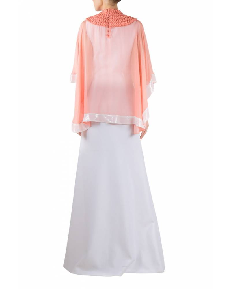 Peach textured flat chiffon cape with white gown - mapxencaRS