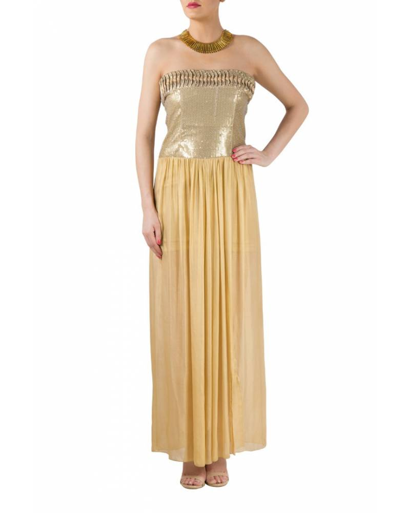 Golden sequence gown with texture on front & back - mapxencaRS