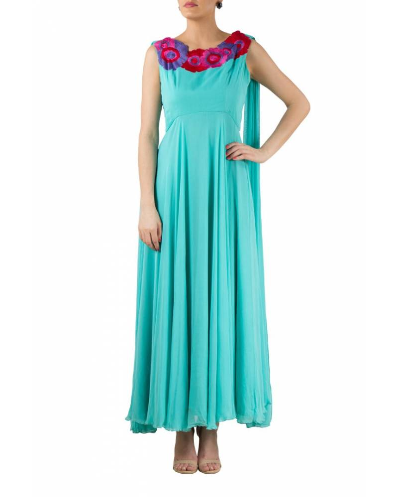 Mint Blue georgette gown with floral embroidery on neckline - mapxencaRS