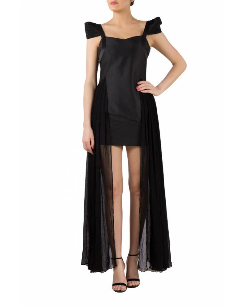 Black Satin silk georgette dress gown with raised sleeve - mapxencaRS