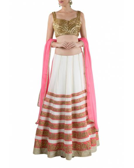 d635f589e9944a Cream akshar pannelled embroidered silk georgette skirt with golden  embroidered blouse & pink duppatta