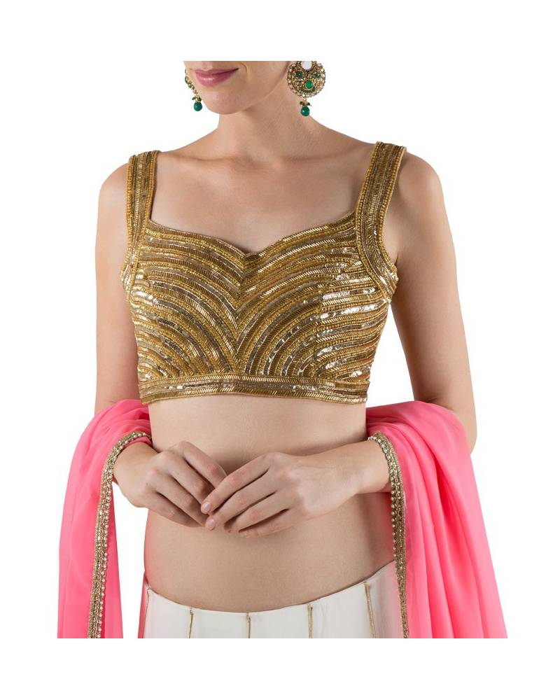 cfd11d0ebded56 ... Cream akshar pannelled embroidered silk georgette skirt with golden  embroidered blouse & pink duppatta
