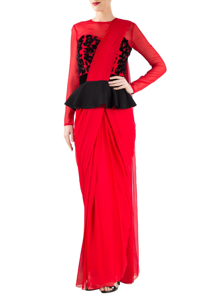 Red georgette saree gown with black peplum & embroidery - mapxencaRS