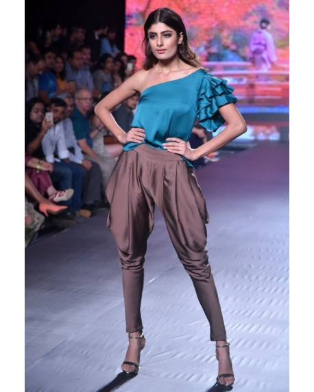 4bda767088fff Peacock green one shoulder satin silk top with brown dhoti trousers ...