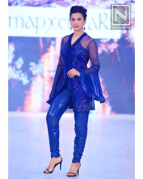 43f95e0d9f0b62 Blue fully embroidered jacket kurta with kimono sleeves   shiny sequins  trousers