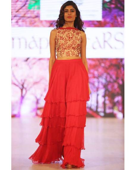 f1f9d194a56e78 Cherry blossom printed top with red flat chiffon tier skirt - mapxencaRS