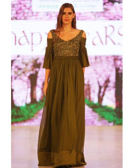 c2d72104a6aeae Olive green flat chiffon gown with embroidered front and back and cut puts  on sleeves