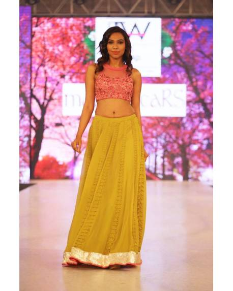 d56f2671223165 Pink embroidery choli with pop green textured panelled skirt ...