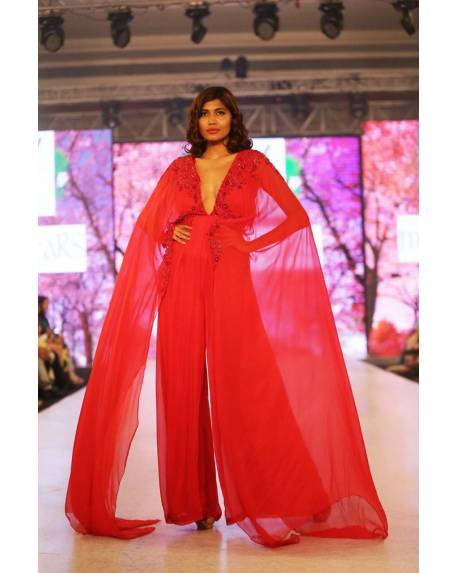 15ddf3972dec93 Red flat chiffon cape jumper with embroidery on front   back ...