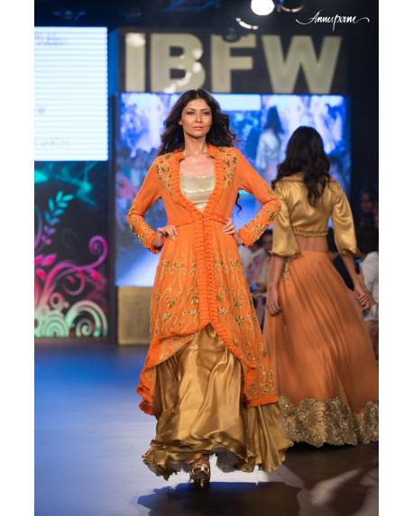 dc59d69b1a706d Orange embroidered georgette anarkali with silk satin palazzo   sequence  blouse
