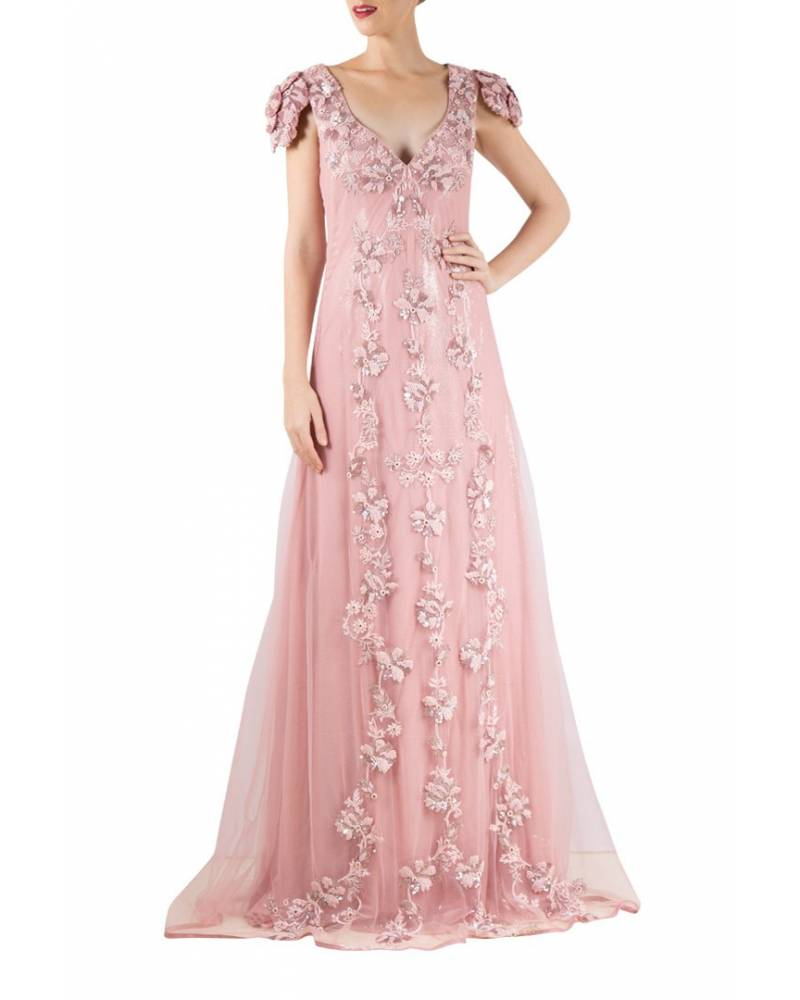 5768f6fe637902 Onion pink net sequence gown with all over hand embroidery - mapxencaRS