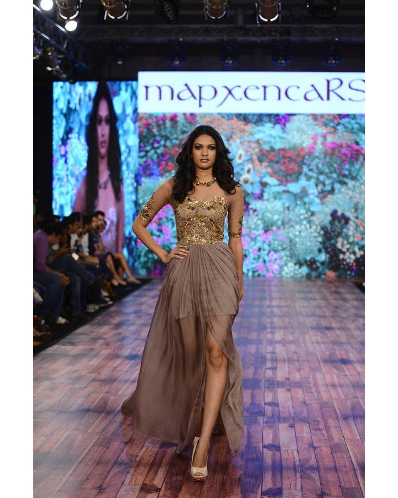 8d6c32f19c2ec9 Brown silk chiffon gown with embroidery on net - mapxencaRS