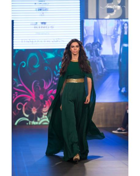 f3b19d49c825aa Green silk georgette cape jumper with golden embroidered belt ...