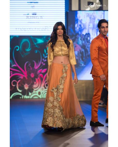 be36646770288a Orange net silk ghagra with embroidered front   back   golden satin silk  blouse