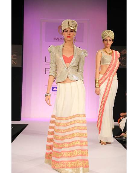 3134d39fc6343f Cream akshar panelled embroidered silk georgette skirt with silver shiny  jacket   pink inner
