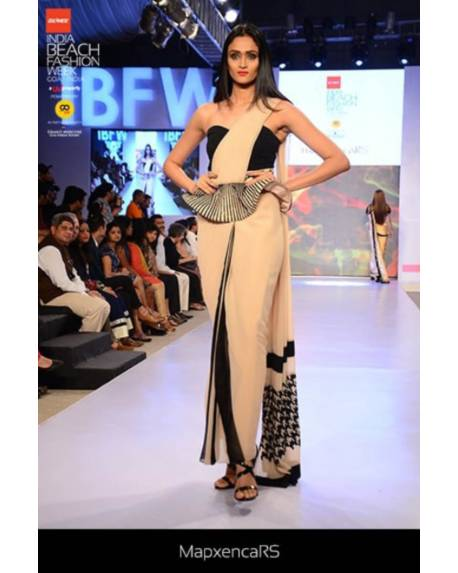 b636347ce4e6e8 Beige Black georgette saree gown with embroidered peplum - mapxencaRS