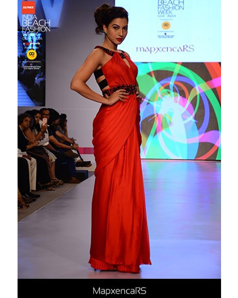 Red satin silk saree gown with black cutdana embroidery on neckline ...