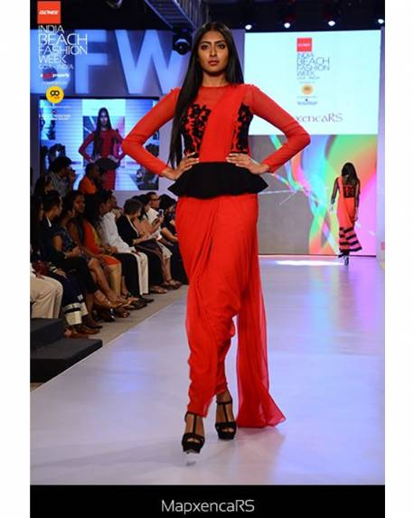 9880092d1ff6c4 Red georgette saree gown with black peplum   embroidery - mapxencaRS