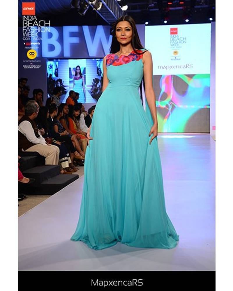01c7bcab340f53 Mint Blue georgette gown with floral embroidery on neckline - mapxencaRS